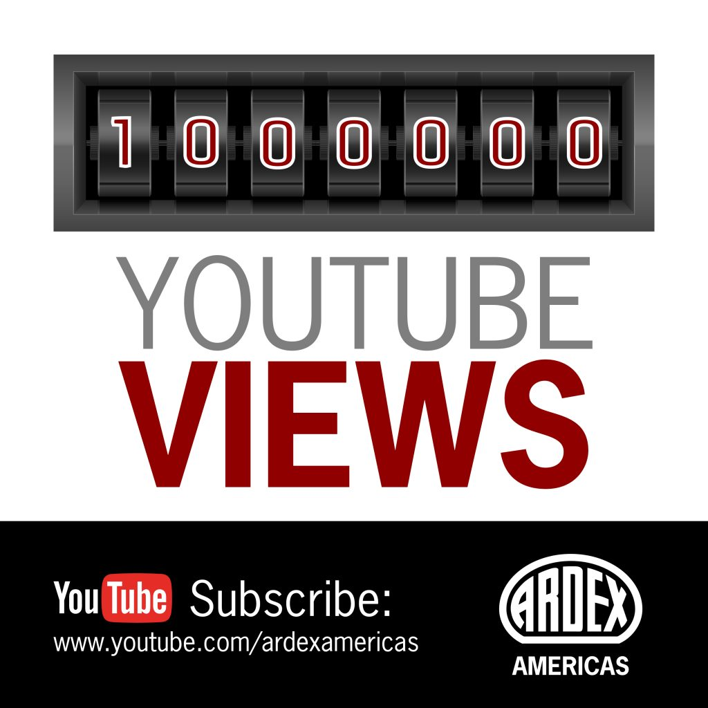 ARDEX Americas Exceeds 1,000,000 Channel Views on YouTube