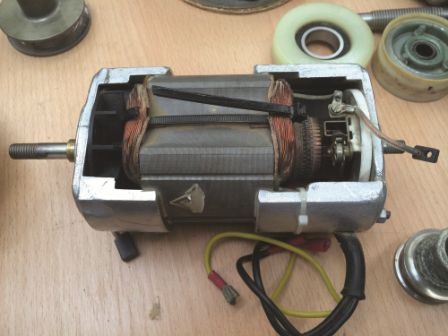 Shown is a bad motor with the carbon brushes worn all the way through.