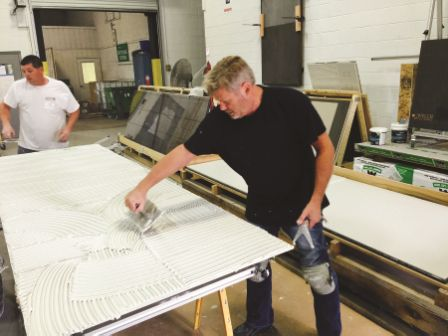New technology in the tile industry, like large format thin porcelain tile, will require significant training before a certification test can be passed successfully. Photo courtesy National Tile Contractors Association.