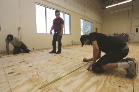Make sure the subfloor is flat and clean. Also, mark the subfloor if a special pattern installation is needed.