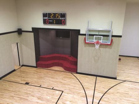 our job called for installing carpet on the walls of two gymnasiums in one home