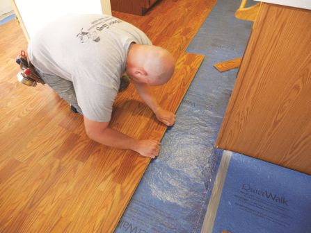 The underlayment product needs to be matched to the flooring product for construction consistency, as using an LVT underlay for LVT; and laminate underlay for laminate.