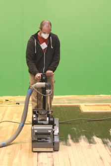 Refinishing can include the use of either a pad and recoat process, or a complete sanding and refinishing.