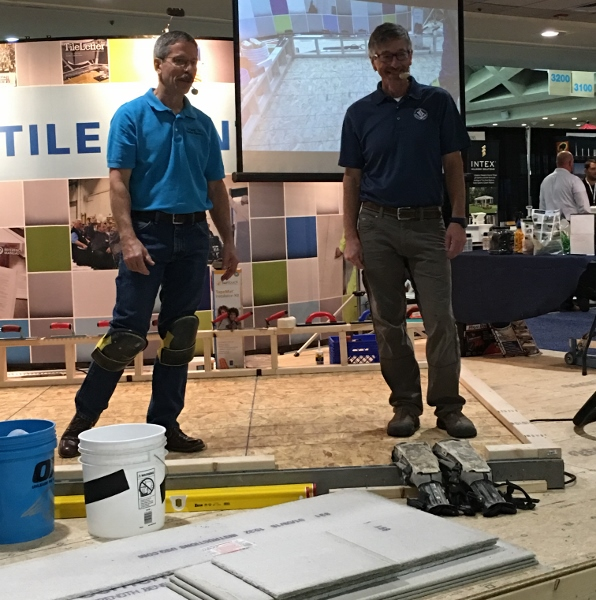For both days, NTCA's Mark Heinlein (pictured right) and the Ceramic Tile Education Foundation (CTEF)'s Scott Carothers presented a wide array of installation techniques and answered questions in a live stage demonstration.