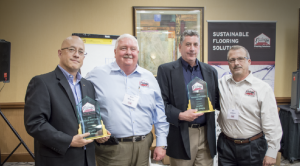 Fishman Flooring Solutions has honored Mapei with its Vendor Partner of the Year Award. Cited for outstanding new product training and market support initiatives were Mapei sales representatives Gary Waldron and Alan Janofsky. Pictured at the award presentation are (left to right) Gary Waldron, Fishman President Bob Wagner, Alan Janofsky and Fishman Executive Vice President Bill Mabeus.