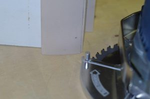 Photo #7: The jamb saw for under-cutting the doorjamb.