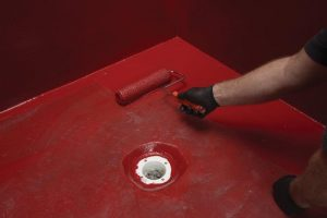 RedGard SpeedCoat Rapid Curing Waterproofing Membrane. Photo courtesy of Custom Building Products.