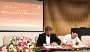 Robert Varden, CFI, and Mr.Qi (Chun Yuan Qi) of Shanghai Chemical Building Materials Trade Association, at the CFI China Signing Ceremony
