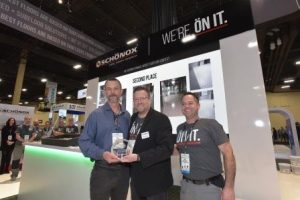Second Place Winner: Accepting on behalf of Floorz Denver - Jim Yates of Midwest Floor Covering. with HPS Schönox Executive VP, Doug Young
