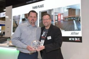 Third Place Winner: Accepting on behalf of Tim Hogan's Carpet - Mac Dutcher of Adleta Corp. with HPS Schönox Executive VP, Doug Young