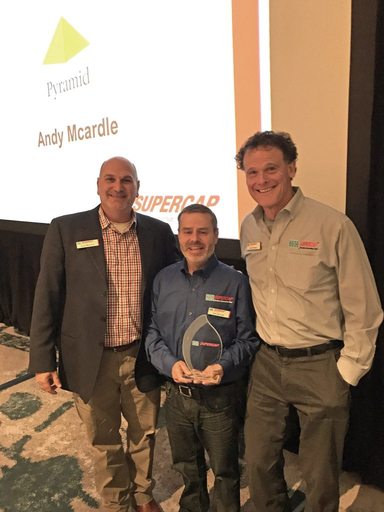 From left to right: LATICRETE SUPERCAP President Doug Metchick, Pyramid Floor Covering Field Operations Director Andy Mcardle and LATICRETE Chairman and Chief Executive Officer David Rothberg