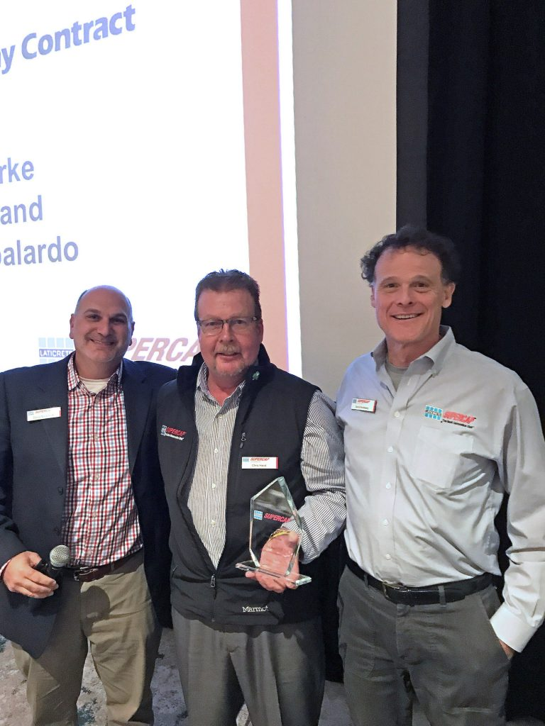 From left to right: LATICRETE SUPERCAP President Doug Metchick, Allegheny Contract's Vice President, Chris Hand and LATICRETE Chairman and Chief Executive Officer David Rothberg