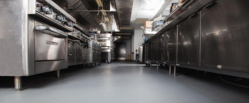 A completed commercial kitchen installation.