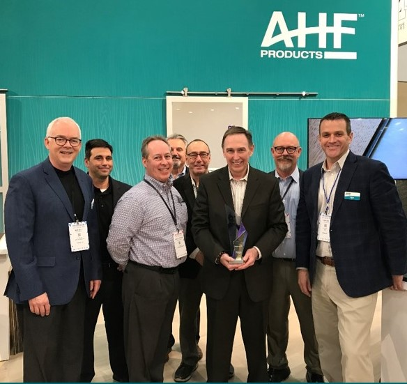 Pictured (from AHF) are: Chris King, VP-Sales; Steve Staikos, Sales Director; Mike Bell, Chief Operating Officer; and Vincent Calabrese, Sales Director. Representing Derr Flooring are: Rick Holden Chief Operating Officer; Jim Mahaffey Regional Sales Director; Mike Bivona Regional Sales Director and Don Lefebvre Jr. Regional Sales Director.