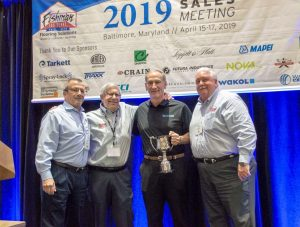 Doug Mayeux of Futura Industries received the Spirit of Excellence Vendor Representative Award from Fishman Flooring Solution's during the firm's recent sales meeting. He is flanked by (left to right) Fishman's Bill Mabeus, Len Goldheim and Bob Wagner.