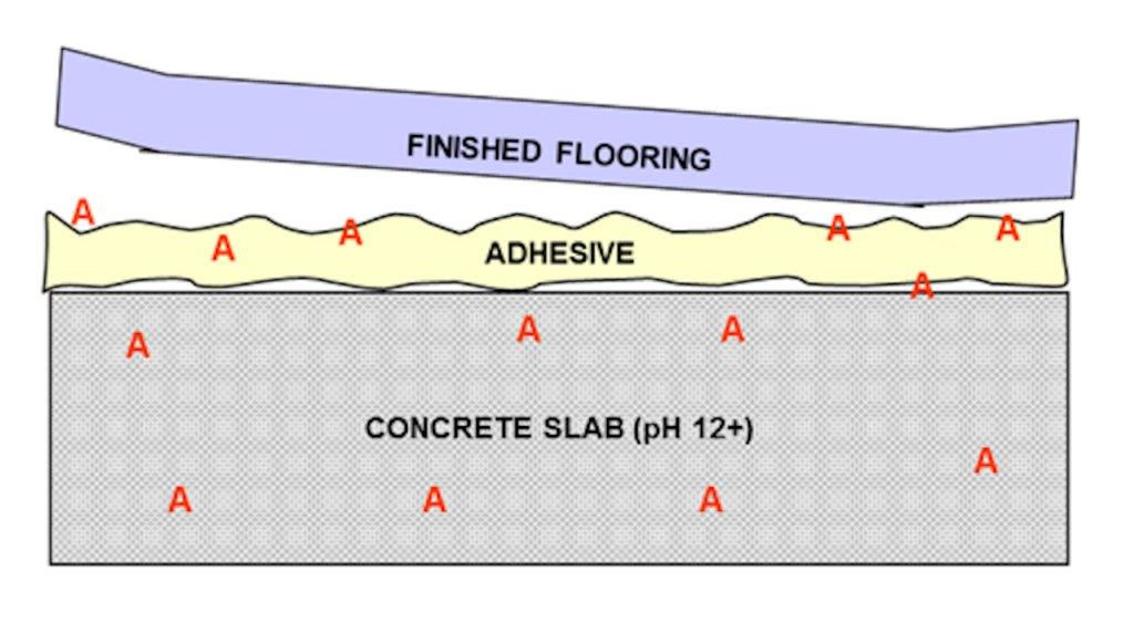 Illustration of how moisture moves through a concrete slab, breaks down the adhesive and damages finished flooring.